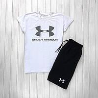 Мужской летний комплект шорты и футболка мужская Under Armour белый с черным. Живое фото, фото 1