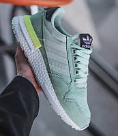 Женские кроссовки Adidas ZX 500 Mint Green. Живое фото (Реплика ААА+)