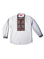 Детская белая рубашка для мальчика с красной вышивкой Остап Piccolo L