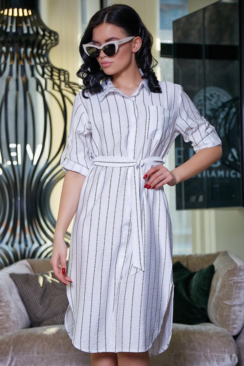 Женское летнее платье-рубашка, белое в полоску, повседневное, молодёжное, спортивное, прямое, свободное