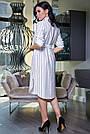Женское летнее платье-рубашка, белое в полоску, повседневное, молодёжное, спортивное, прямое, свободное, фото 4