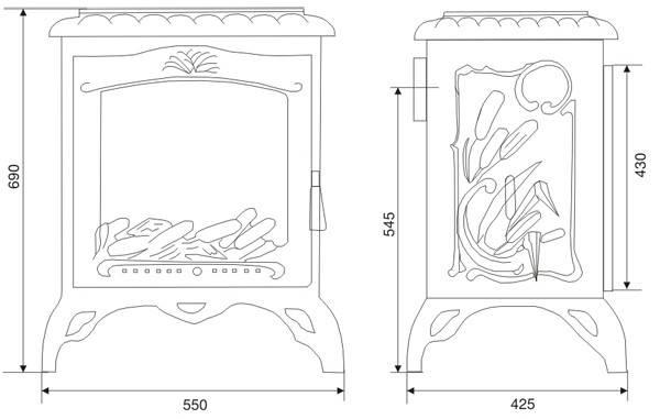 Печь камин чугунная INVICTA Chambord антрацит, фото 2