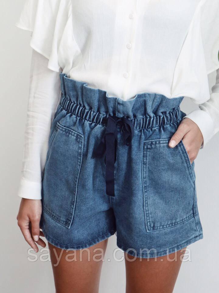 Женские джинсовые шорты с высоким поясом в расцветках. МТ-12-0519