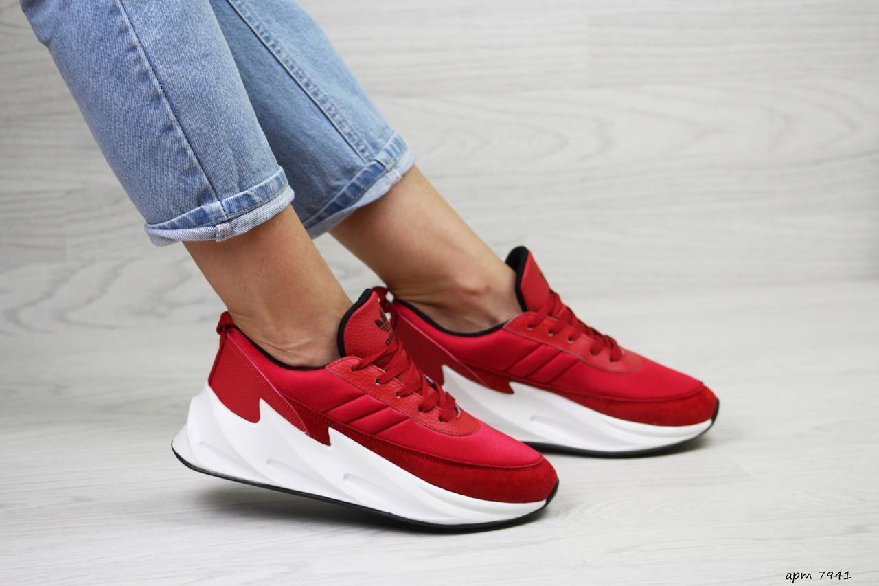 Подростковые,женские кроссовки Adidas Sharks,красные