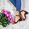 Босоножки на каблуке из натуральной замши красного цвета, фото 4