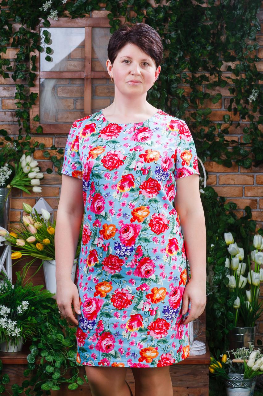 Женское летнее платье голубое п- 6190