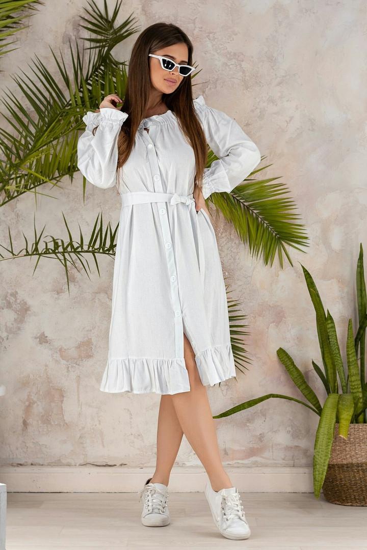 Платье женское длинное из льна с длинными рукавами на резинке (К27649)