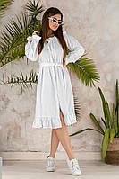 Платье женское длинное из льна с длинными рукавами на резинке (К27649), фото 1