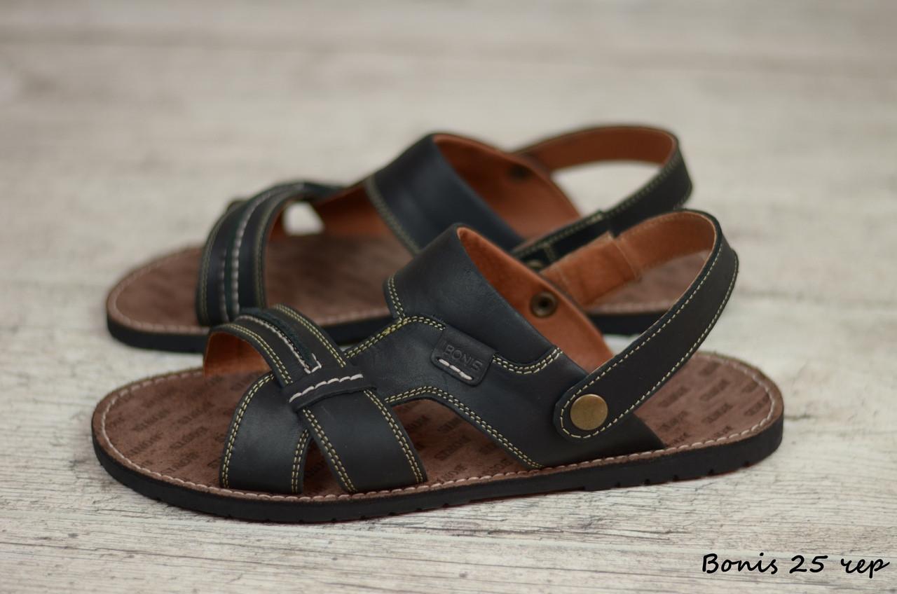 Мужские кожаные сандалии, босоножки Bonis (Реплика)  (Код: Bonis 25 чер  ) ► [39,40,41,42,43,44,45]