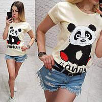 Женская футболка летняя рисунок Панда 100% катон качество турция цвет желтый, фото 1