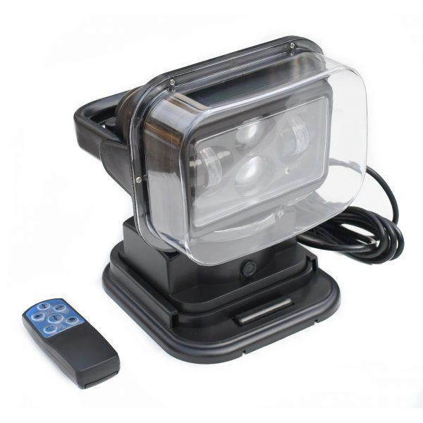 Поисковый прожектор судовой для катера и лодки пульт Led 528 черный угол луча 8 градусов 6500Lm