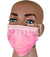 Маски медицинские Розовые, трехслойные одноразовые Meditex (50 шт/уп)