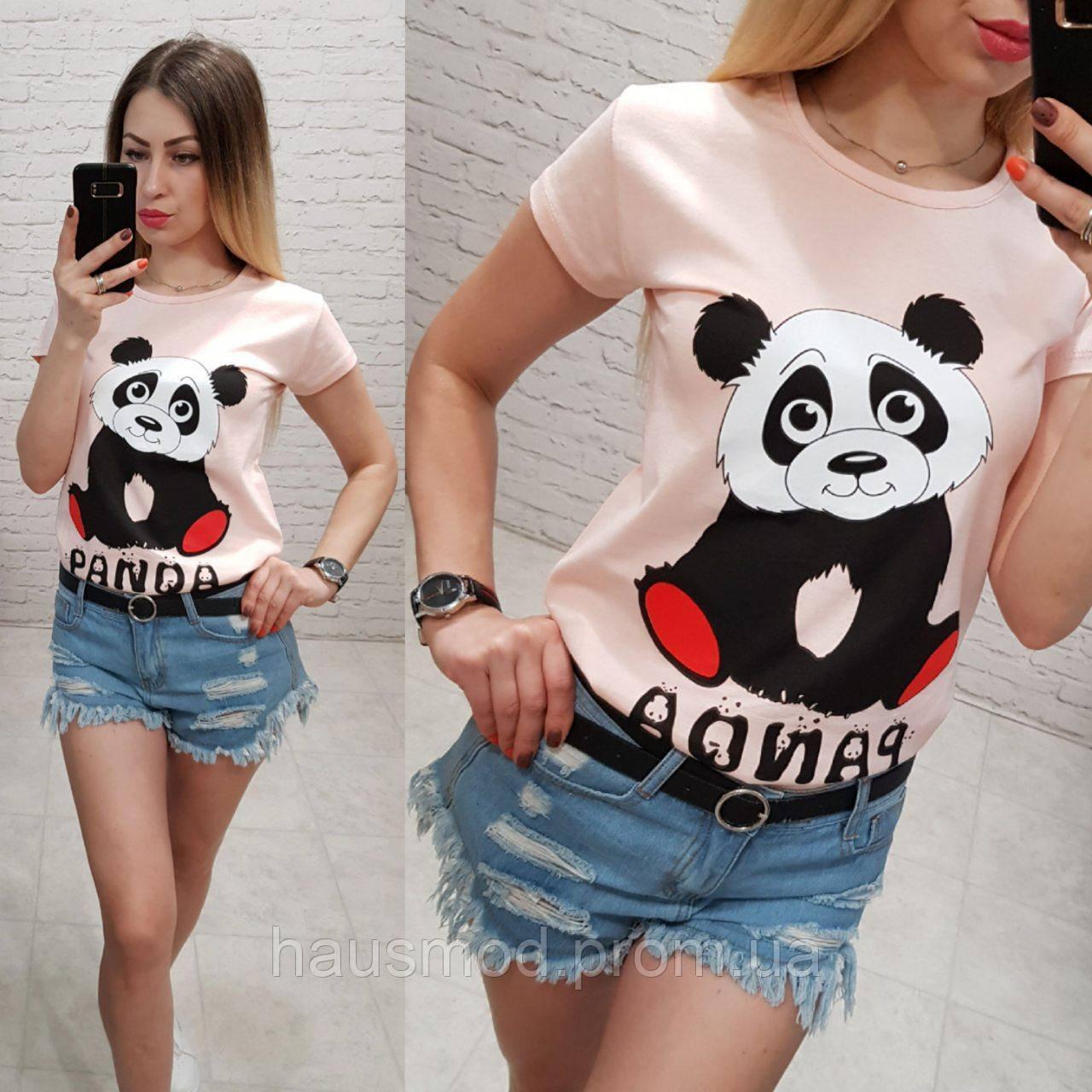 Женская футболка летняя рисунок Панда 100% катон качество турция цвет розовый