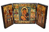 Складень Владимирская Божия матерь (тройной квадратный)