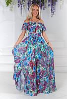 Шифоновое платье в пол с цветочным принтом, фото 1