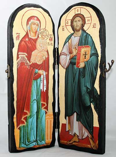Складень Спаситель и Пресвятая Богородица 300х200