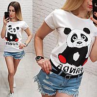 Женская футболка летняя рисунок Панда 100% катон качество турция цвет белый, фото 1