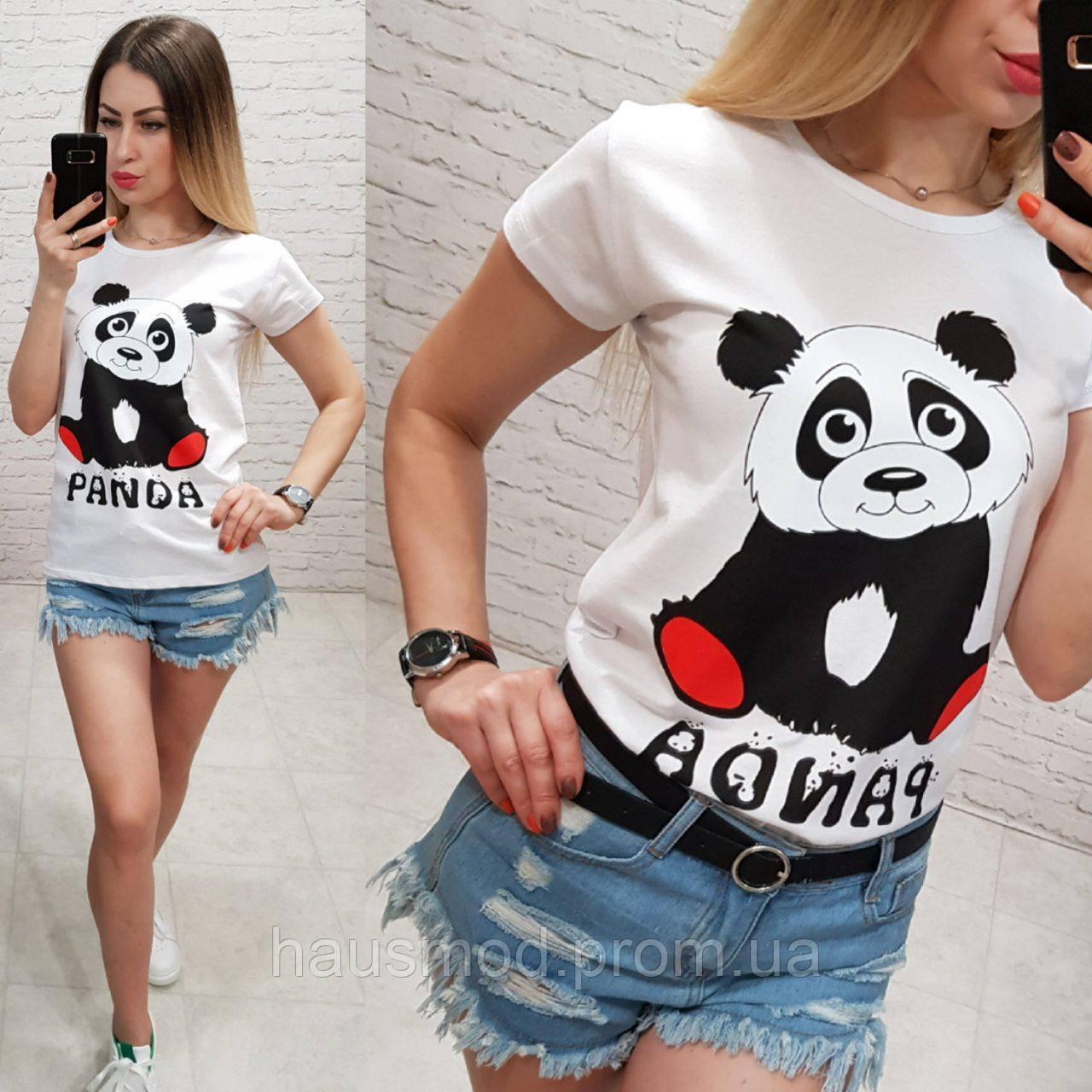 Женская футболка летняя рисунок Панда 100% катон качество турция цвет белый