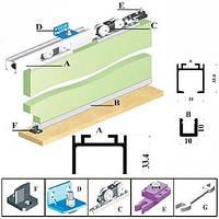 Система для раздвижных дверей Новатор 51/2 1.8 м 80 кг