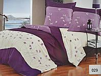 Сатиновое постельное белье евро ELWAY 029 «Фиалки»