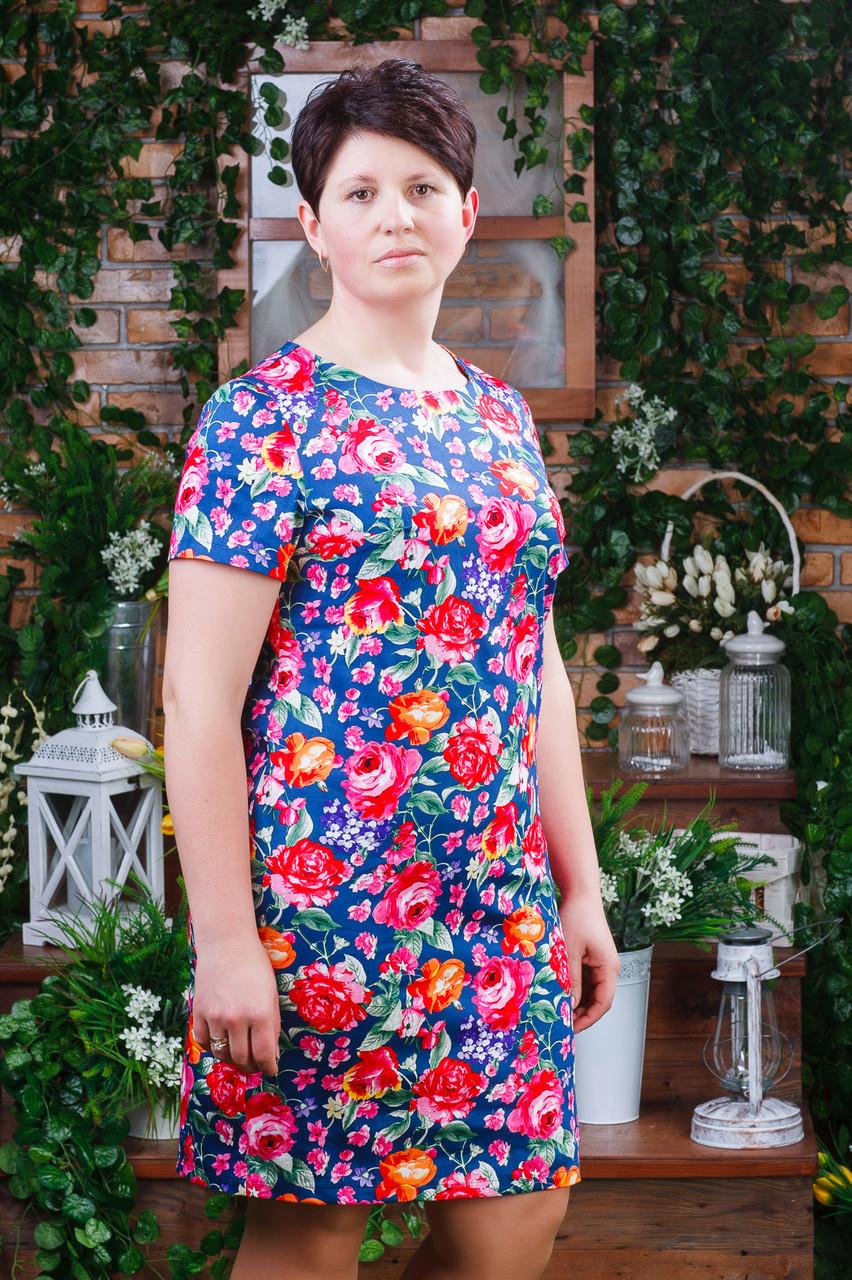 Женское летнее платье синее п- 6191