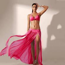 Пляжная розовая юбка 42-46 размер, длина 88-90см, 95% полиэстер, 5% спандекс