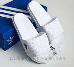 Шлепки мужские Adidas белые Репилка шикарного качества