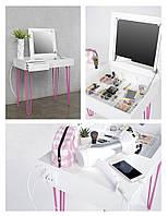 Туалетный мейкап столик для макияжа с подсветкой, розеткой и usb - Desk MakeUp, Hairpinlegs UA