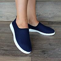36р Літні жіночі мокасини - сліпони синього кольору  (Бж-9с)