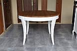 Класичний білий обідній стіл з масиву дерева, фото 2