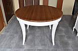 Класичний білий обідній стіл з масиву дерева, фото 3