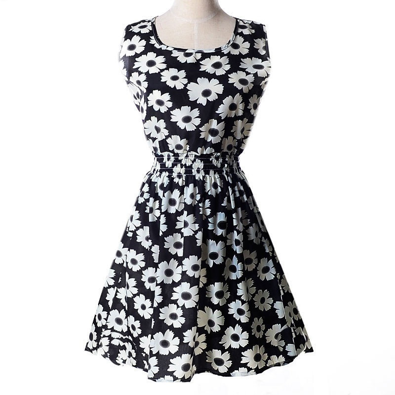 Платье сарафан летнее Ромашки белые на черном Liva Girl