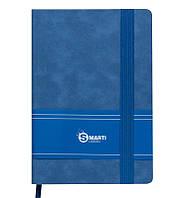 Записная книга блокнот Buromax SMARTI LOGO2U А5 искусств. кожа 96л. клетка синий BM.29511111-02
