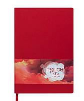 Записная книга блокнот Buromax TOUCH ME LOGO2U А5 искусств. кожа 96л. клетка красный BM.295102-05