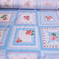 Ситець платочный з блакитними квадратами і трояндочками, ширина 95 см, фото 1