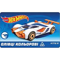 Карандаши цветные Kite 12цв трехгранные метал. кор Hot Wheels HW19-058