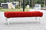 Банкетка червона з точеними ніжками, фото 3