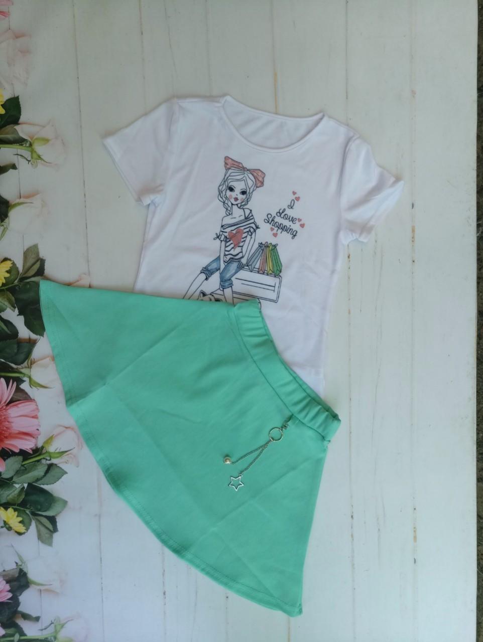 Детская футболка с юбкой для девочки р.128-152