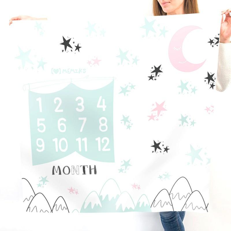 """Фотофон-пелюшка для дитячих фотосесій по місяцям """"Нічний пейзаж"""""""