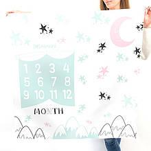 """Фотофон-пеленка для детских фотосессий по месяцам """"Ночной пейзаж"""""""