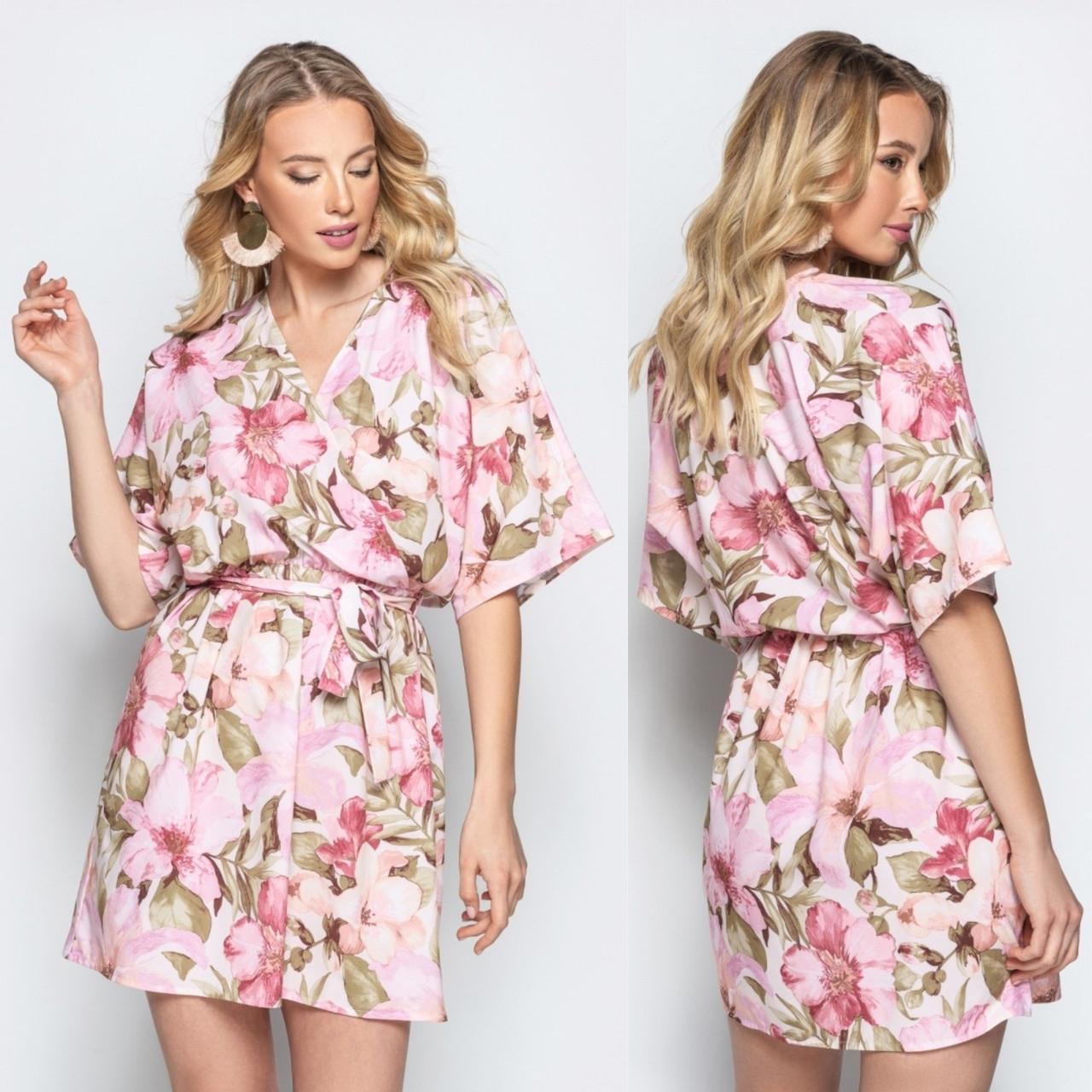 a148719768776f6 Стильное летнее платье на запах розового цвета с цветочным принтом ...