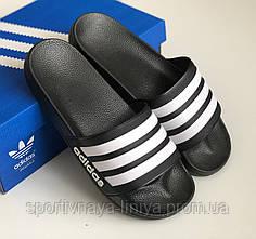 Шлепки мужские Adidas черные с белыми полосками Репилка шикарного качества