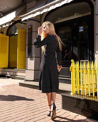 Черное платье в горошек на запах из софта, фото 2