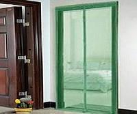Москитная сетка на магнитах  210 х 120 зеленая ( магнитная лента )