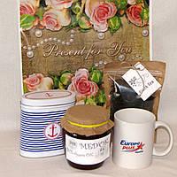"""Подарок для учителя """"Мужской"""" Чай + Мед + банка для чая + чашка"""
