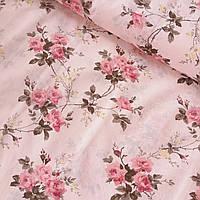 Бязь Прованс з букетами троянд на світло-рожевому тлі, ширина 220 см, фото 1