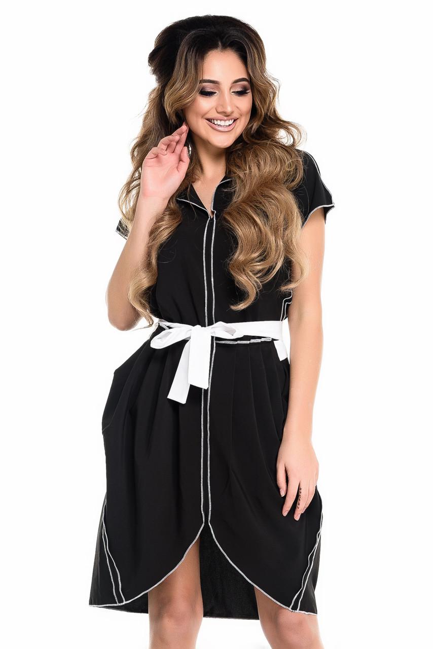 Черное платье из шифона с контрастной отделкой