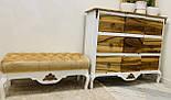Банкетка біла для передпокою з ніжками кабріоль, фото 5