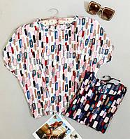 Женская блузка штапель с яркими расцветками новинка