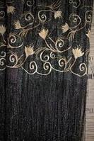 Шторы нити с вышивкой № 9 -1 Черный